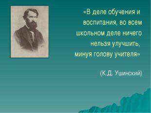 «В деле обучения и воспитания, во всем школьном деле ничего нельзя улучшить,