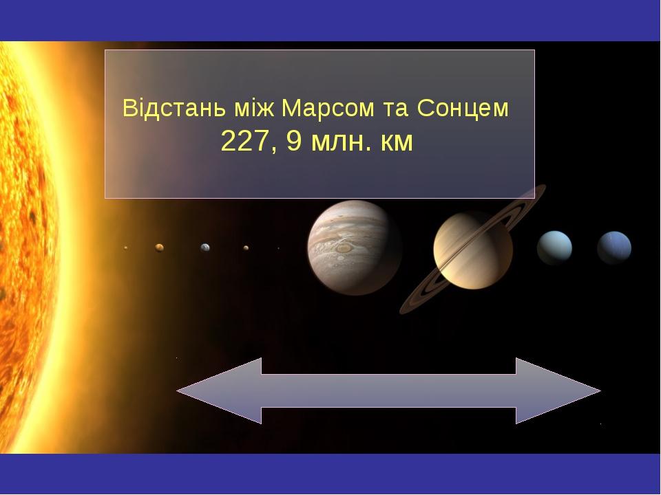 Відстань між Марсом та Сонцем 227, 9 млн. км