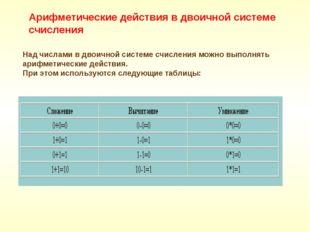 Над числами в двоичной системе счисления можно выполнять арифметические дейст