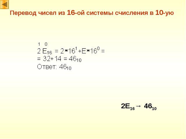 2E16→ 4610 Перевод чисел из 16-ой системы счисления в 10-ую