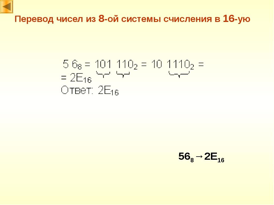 Перевод чисел из 8-ой системы счисления в 16-ую 568→2E16