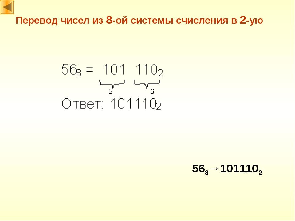 Перевод чисел из 8-ой системы счисления в 2-ую 568→1011102 6 5