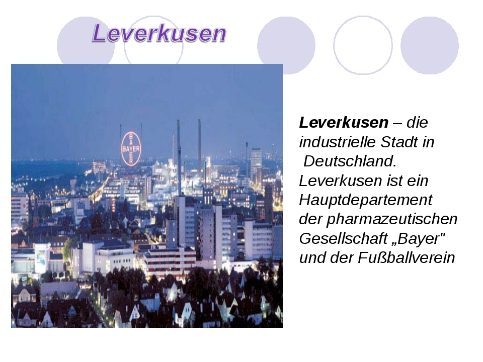 Leverkusen – die industrielle Stadt in Deutschland. Leverkusen ist ein Hauptd...