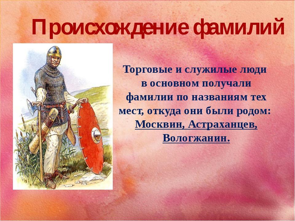 Происхождение фамилий Торговые и служилые люди в основном получали фамилии по...