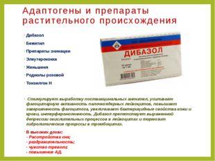 Адаптогены и препараты растительного происхождения Дибазол Бемитил Препараты