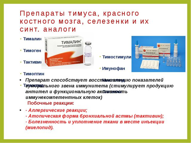 Препараты тимуса, красного костного мозга, селезенки и их синт. аналоги Тимал...