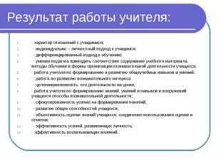 Результат работы учителя: - характер отношений с учащимися; - индивидуально –