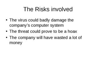 The Risks involved The virus could badly damage the company's computer system