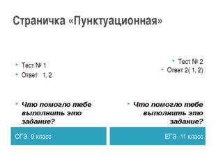 Страничка «Пунктуационная» ОГЭ- 9 класс ЕГЭ -11 класс Тест № 1 Ответ 1, 2 Что