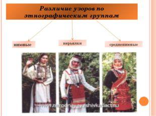 Различие узоров по этнографическим группам низовые вирьялки средненизовые