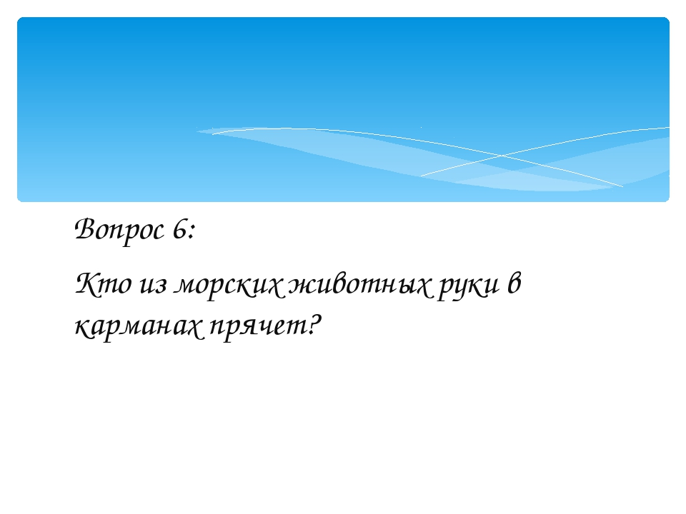 Вопрос 6: Кто из морских животных руки в карманах прячет?