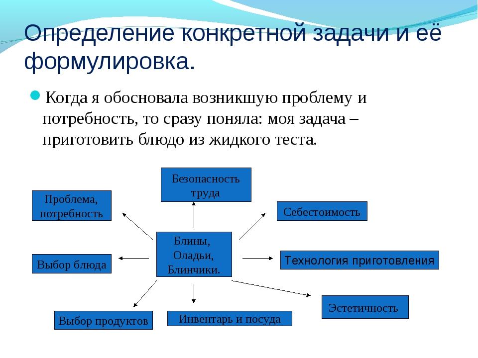 Определение конкретной задачи и её формулировка. Когда я обосновала возникшую...