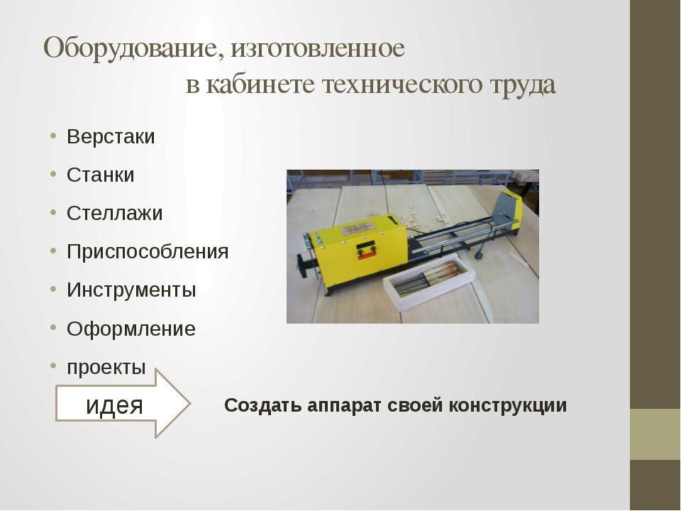 Оборудование, изготовленное в кабинете технического труда Верстаки Станки Сте...