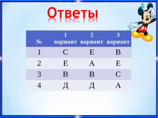 №1 вариант2 вариант3 вариант 1СЕВ 2ЕАЕ 3ВВС 4ДДА