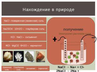Нахождение в природе Каменная соль Глауберова соль сильвинит карналлит NaCl