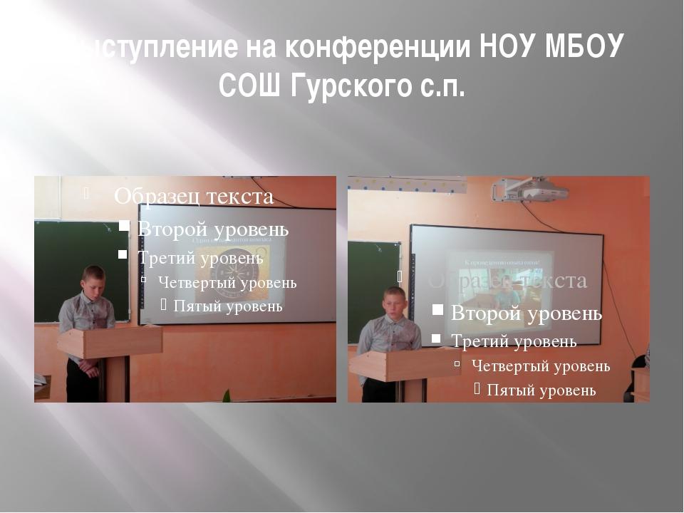 Выступление на конференции НОУ МБОУ СОШ Гурского с.п.