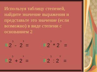 Используя таблицу степеней, найдите значение выражения и представьте это знач