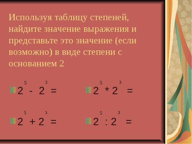 Используя таблицу степеней, найдите значение выражения и представьте это знач...