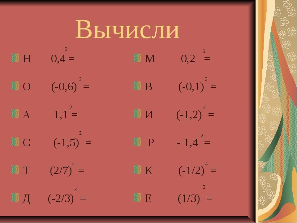 Вычисли Н 0,4 = О (-0,6) = А 1,1 = С (-1,5) = Т (2/7) = Д (-2/3) = М 0,2 = В...