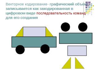 Векторное кодирование- графический объект записывается как закодированная в ц