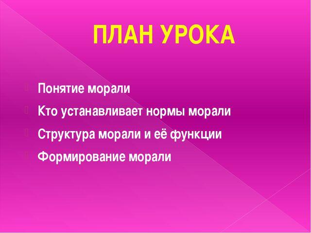 ПЛАН УРОКА Понятие морали Кто устанавливает нормы морали Структура морали и е...