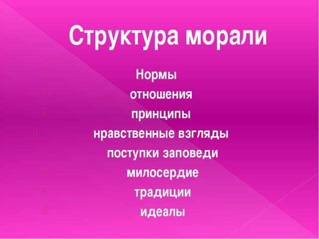 Структура морали    Нормы отношения принципы нравственные взгляды поступки...