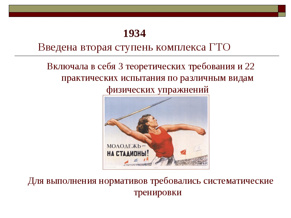 1934 Введена вторая ступень комплекса ГТО Включала в себя 3 теоретических тр...