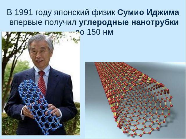 В 1991 году японский физик Сумио Иджима впервые получил углеродные нанотрубки...