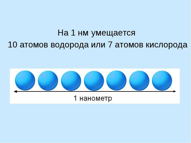 На 1 нм умещается 10 атомов водорода или 7 атомов кислорода