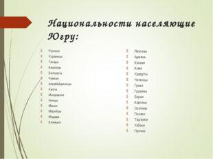 Национальности населяющие Югру: Русские Украинцы Татары Башкиры Белорусы Чува