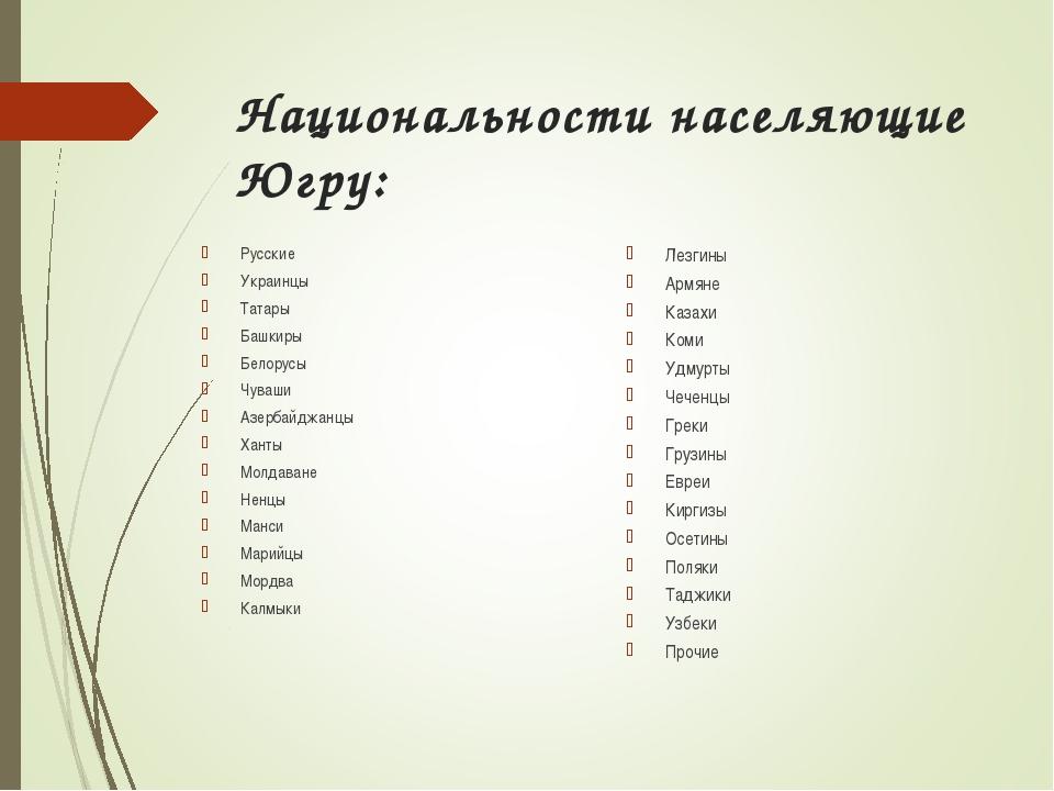 Национальности населяющие Югру: Русские Украинцы Татары Башкиры Белорусы Чува...