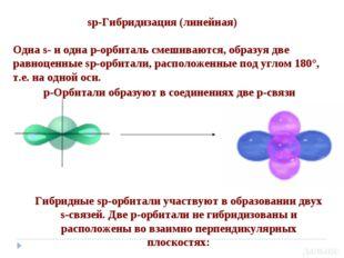 sp-Гибридизация (линейная) Одна s- и одна р-орбиталь смешиваются, образуя дв