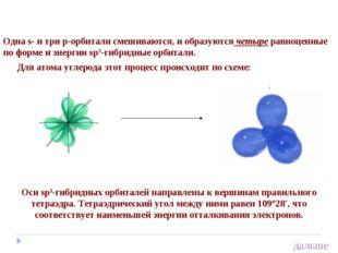 Одна s- и три р-орбитали смешиваются, и образуются четыре равноценные по форм