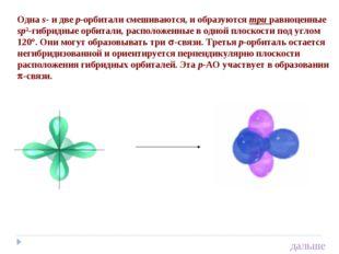 Одна s- и две p-орбитали смешиваются, и образуются три равноценные sp2-гибрид