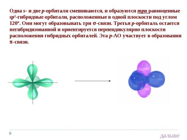 Одна s- и две p-орбитали смешиваются, и образуются три равноценные sp2-гибрид...