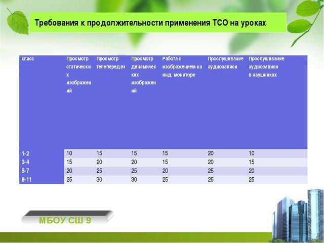 Требования к продолжительности применения ТСО на уроках МБОУ СШ 9 классПрос...