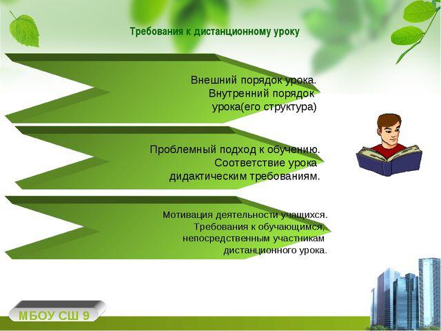 Требования к дистанционному уроку МБОУ СШ 9 Внешний порядок урока. Внутренний...