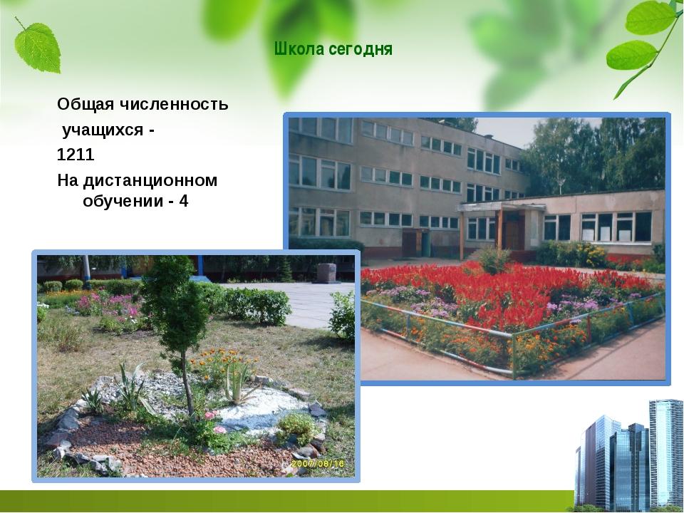 Общая численность учащихся - 1211 На дистанционном обучении - 4 Школа сегодня