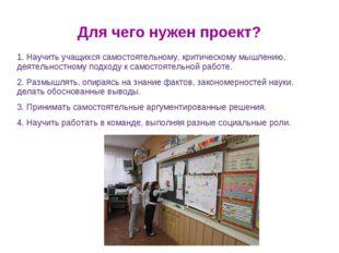 Для чего нужен проект? 1. Научить учащихся самостоятельному, критическому мыш