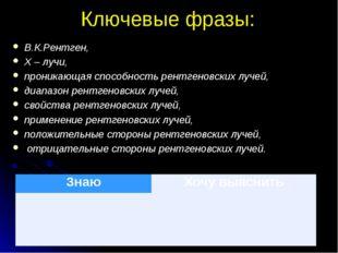 Ключевые фразы: В.К.Рентген, Х – лучи, проникающая способность рентгеновских