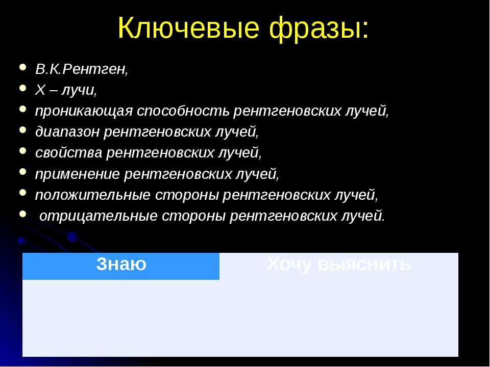 Ключевые фразы: В.К.Рентген, Х – лучи, проникающая способность рентгеновских...