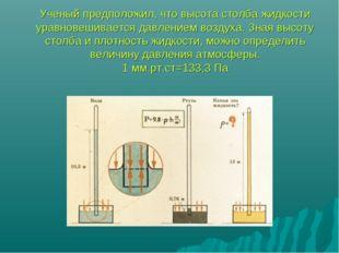 Ученый предположил, что высота столба жидкости уравновешивается давлением воз