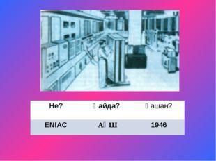 Не? Қайда? Қашан? ENIAC АҚШ 1946