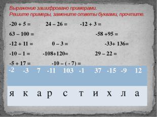 -20 + 5 = 24 – 26 =-12 + 3 = 63 – 100 =  -58 +95 = -12 + 11 = 0 – 3 =