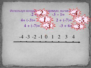 Используя координатную прямую, вычислить: -2 + 4= -3 – 1= 4+ (-3)= 2 + (-7)=