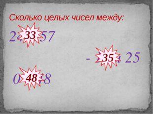 24 и 57 - 10 и 25 0 и 48 Сколько целых чисел между: 33 35 48