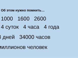 Об этом нужно помнить… 1000 1600 2600 4 суток 4 часа 4 года 1418 дней 34000 ч
