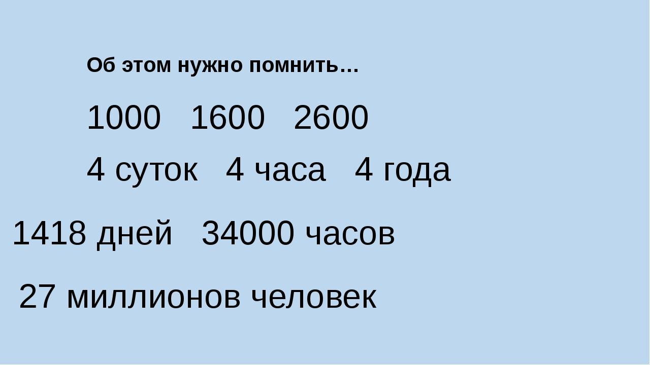 Об этом нужно помнить… 1000 1600 2600 4 суток 4 часа 4 года 1418 дней 34000 ч...