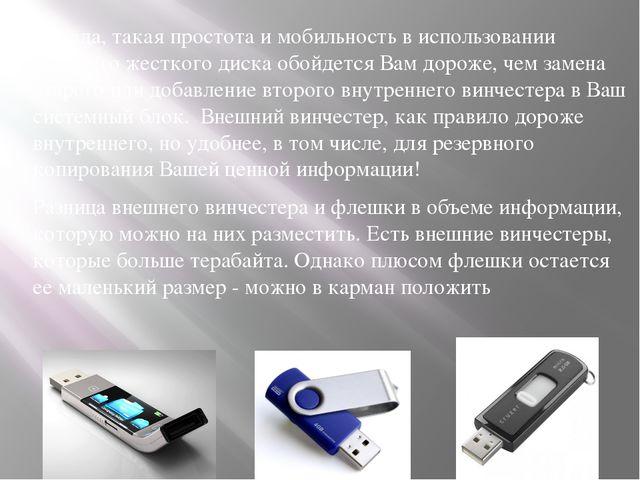 Правда, такая простота и мобильность в использовании внешнего жесткого диска...