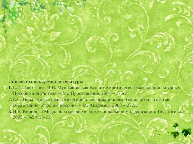 Список используемой литературы С.И. Заир – бек, И.В. Муштавинская Развитие кр...